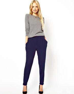 синие брюки женские фото