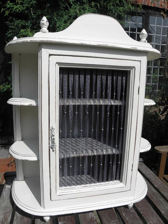 Shabby Chic Old White Painted Vintage Wooden Wall Cabinet Display Shelf  Unit With Organza Ribbon And Silver Bead Detail