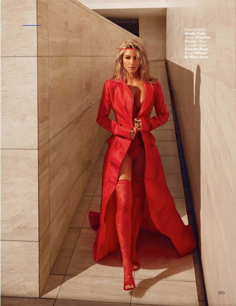 Kim Kardashian Poses in Red Hot Fashions for Vogue India