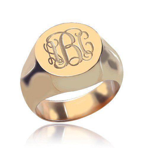 Circle Design Signet Monogram Initial Ring Rose Gold Monogram Ring Monogram Initial Ring Engraved Monogram Ring