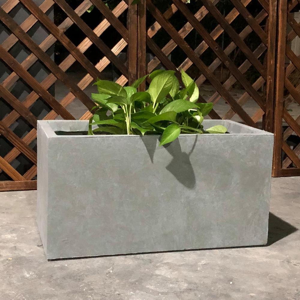 Durx Litecrete Large 31 1 In X 14 6 In X 14 8 In Cement Lightweight Concrete Modern Long Low Planter Yf 0104b C60611 The Home Depot Concrete Planter Boxes Planter Boxes Planters