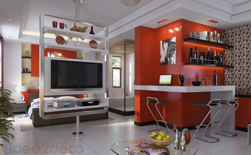 Aménagement Deco Cuisine Moderne Petit Espace Petits Studios - Images deco salon pour idees de deco de cuisine