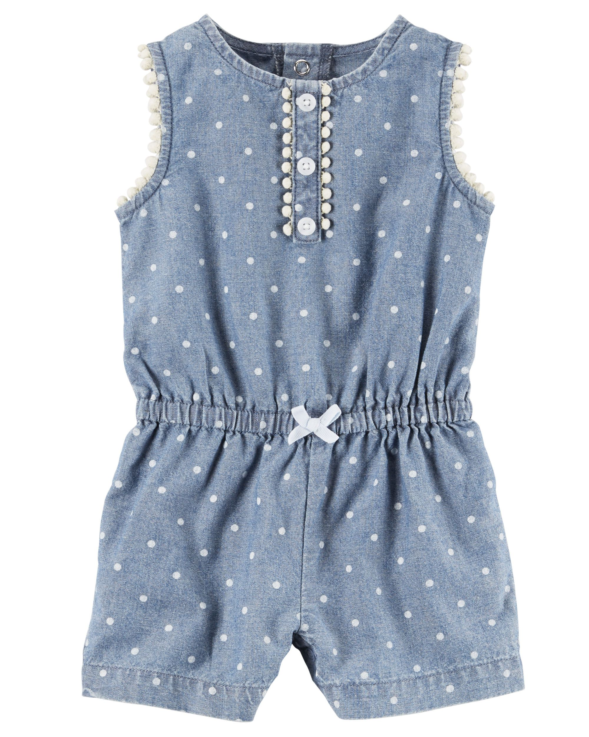 Carters Baby Boys Printed Chambray Romper