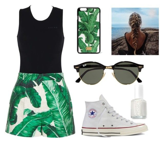 """""""Summer"""" by emerson-lea on Polyvore featuring Falke, Dolce&Gabbana, Ray-Ban, Converse and Essie"""