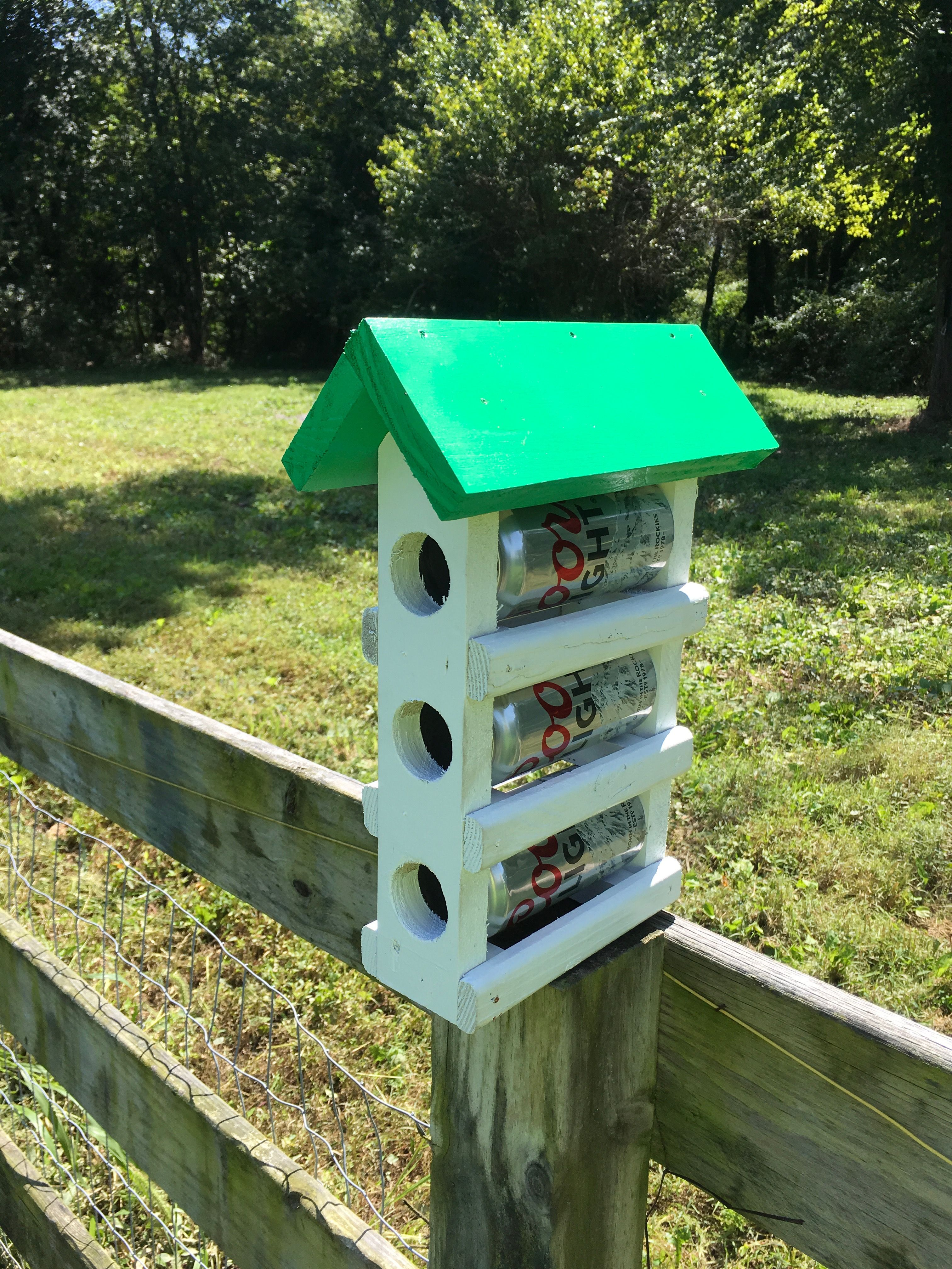 Happy hour for our feathered friends. Bird house