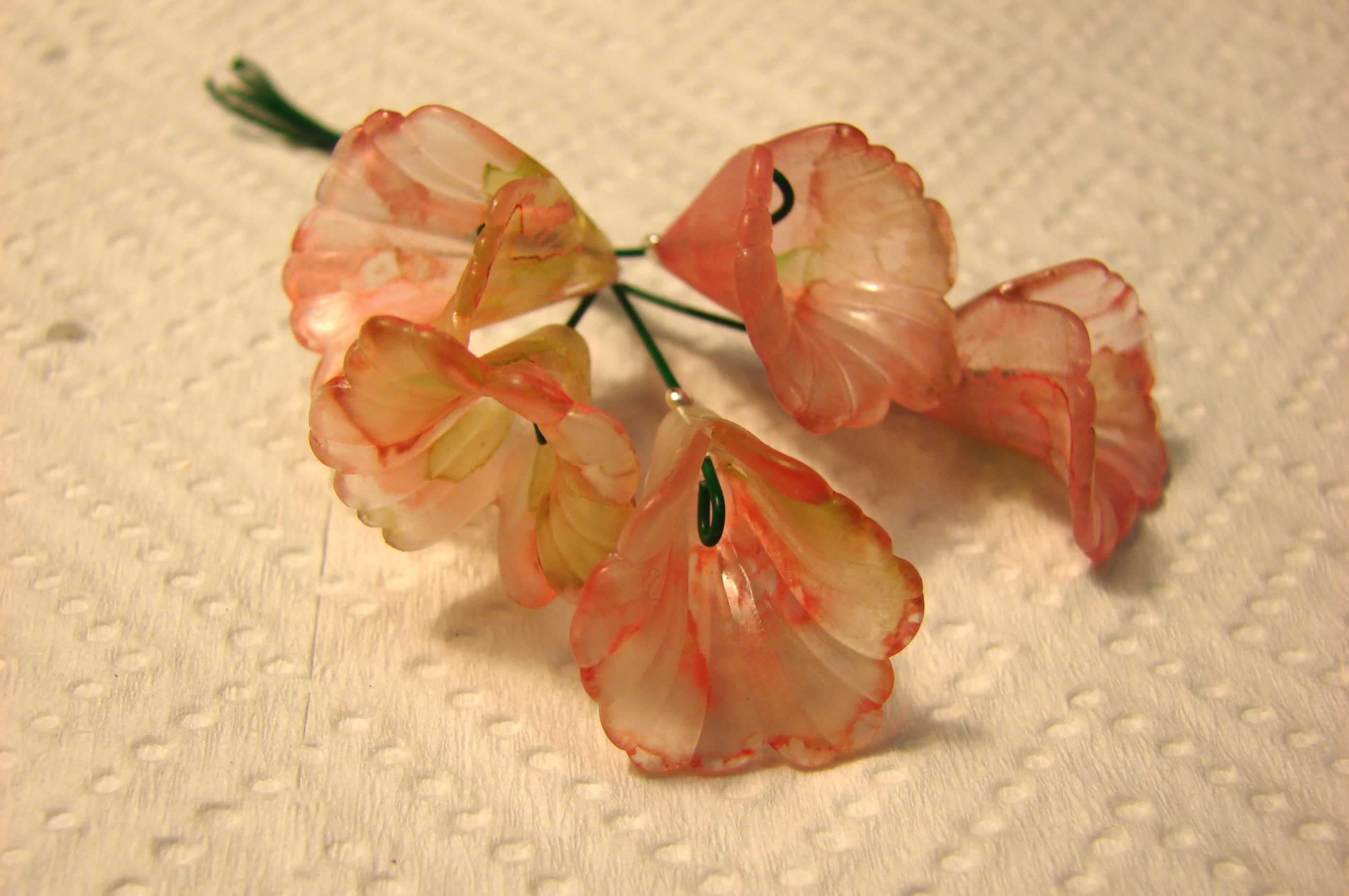 Lucite flower beads hand painted by me.