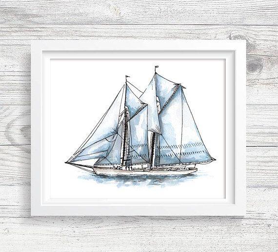 Sailboat Art   PRINTABLE Watercolor Sailing Art Print, Sailing Ship, Sailor  Gift Idea, Beach House, Bathroom Decor, Instant Download ACC75 | Beach  House ...