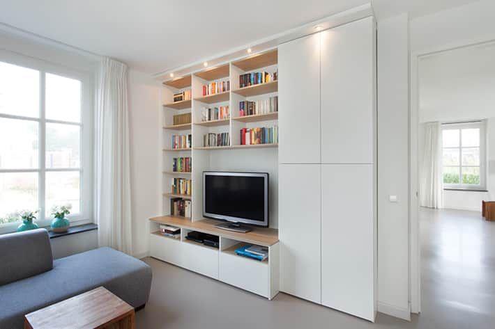 boekenkast woonkamer wit op maat - Google zoeken | mensole | Pinterest