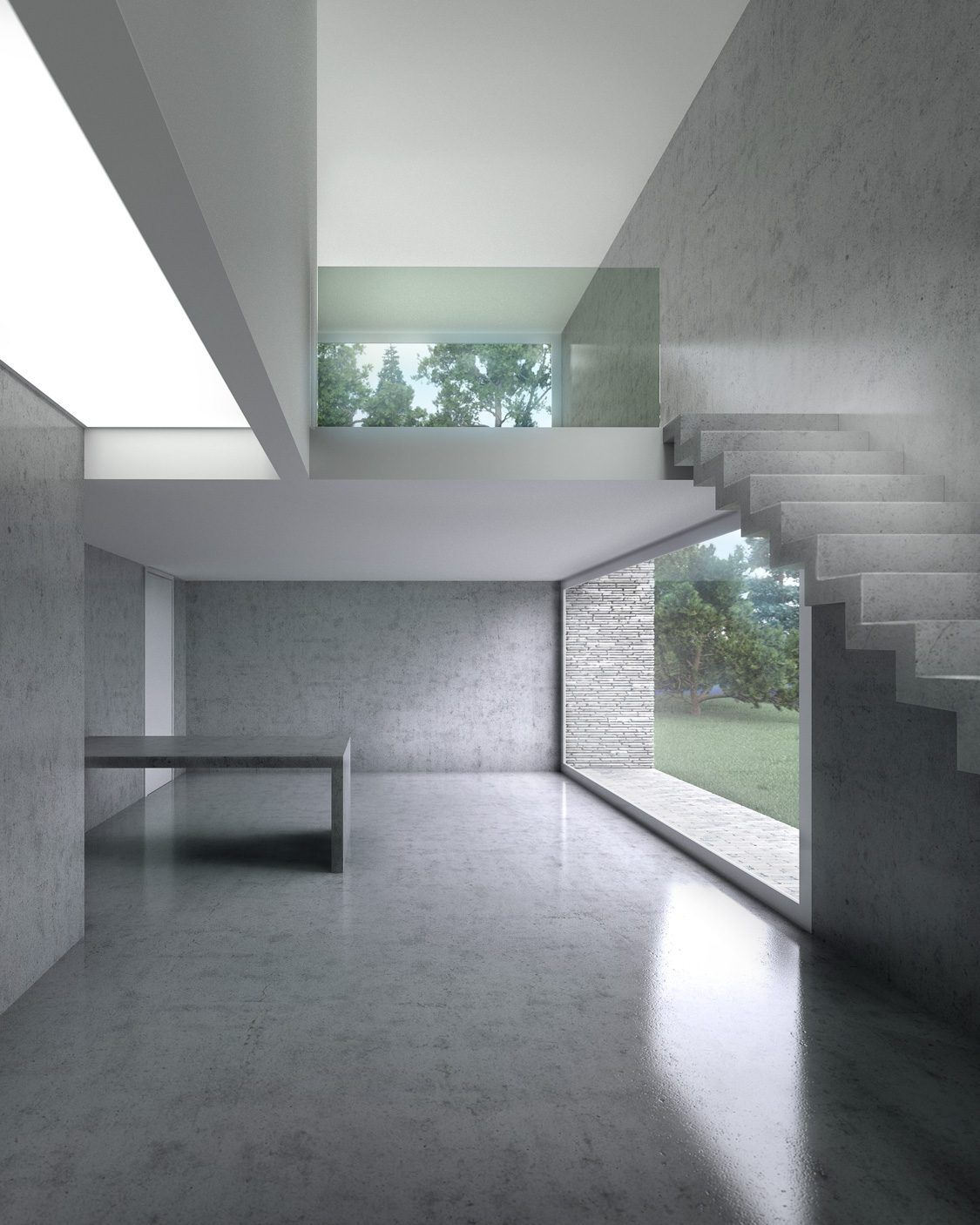 Playing with concrete 3d rendering architectural visualisation interior design cgi for Interior architectural lighting