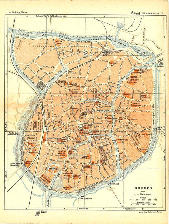 1930 Bruges City Plan Street Map Belgium Bruges Belgium and City