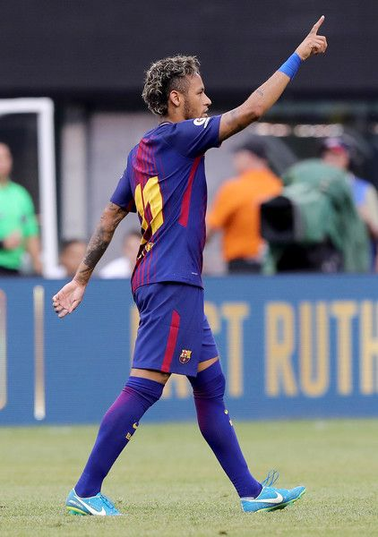 Neymar #11 of Barcelona celebrates his goal in the first half against Juventus during the International Champions Cup 2017  on July 22, 2017 at MetLife Stadium in East Rutherford, New Jersey.