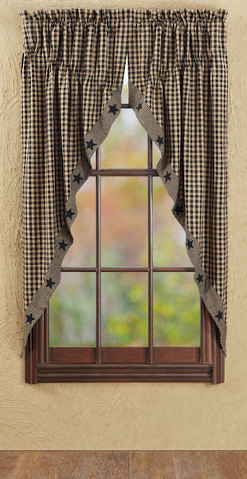 Black applique star prairie curtain colonial and for Colonial window designs