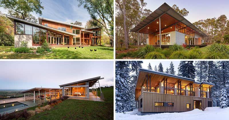 Wunderbar 16 Beispiele Für Moderne Häuser Mit Einem Geneigten Dach #geneigten #hauser  #moderne