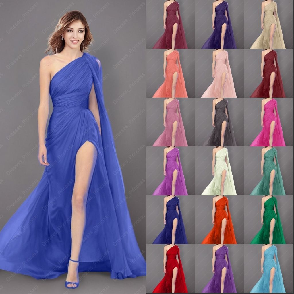 one shoulder bridesmaids dresses long evening prom gown dress