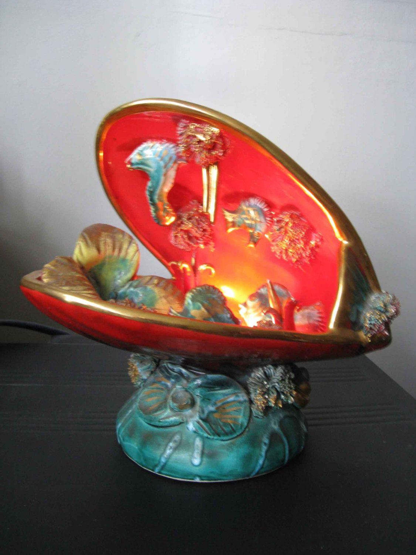 stunning ceramic lamp, seashell lamp, Vallauris tv lamp