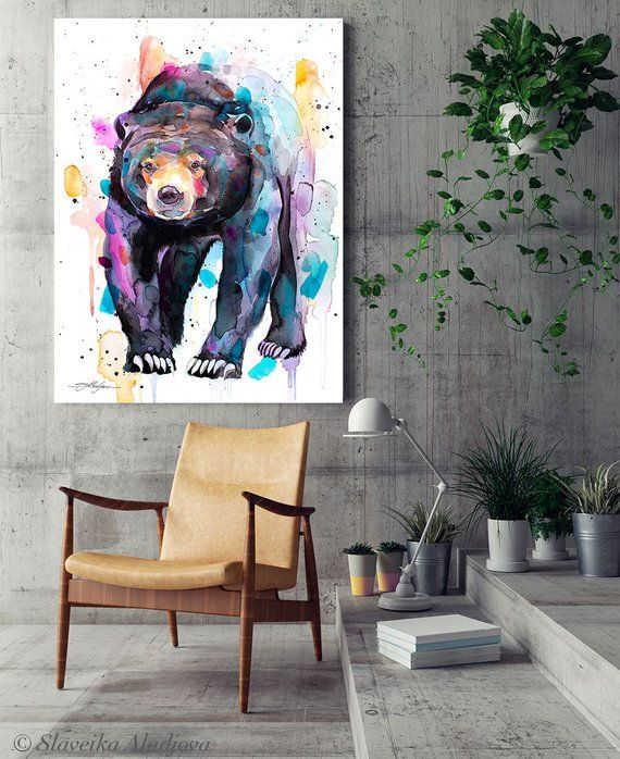 Spectacled Bear watercolor framed canvas by Slaveika Aladjova ... 96c9e8890d0a