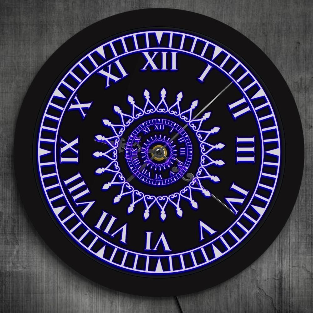Roman Numeral Mandala Neon Sign Led Wall Clock Neon Signs Led Wall Clock