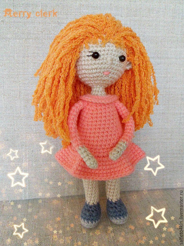 Купить Куколка вязаная рыжая красавица - рыжий, розовый, бежевый цвет, кукла ручной работы