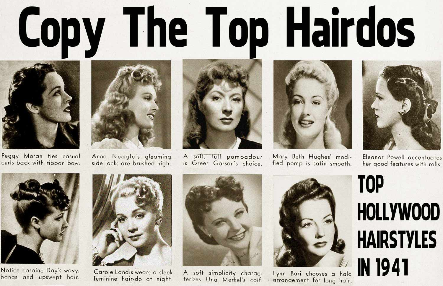 1940s Hairstyle Copy The Top Hairdos Of 1941 Glamour Daze Hollywood Hair 1940s Hairstyles Hairdo