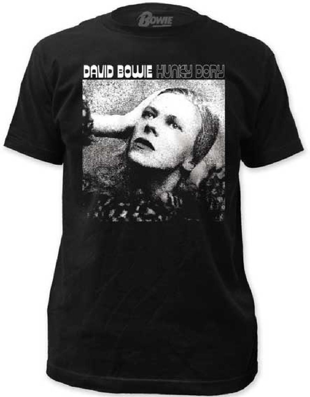 e71faf4f6 This David Bowie tshirt spotlights the album cover artwork from Hunky Dory.  Released in December 1971, Hunky Dory is the fourth studio album by David  Bowie ...