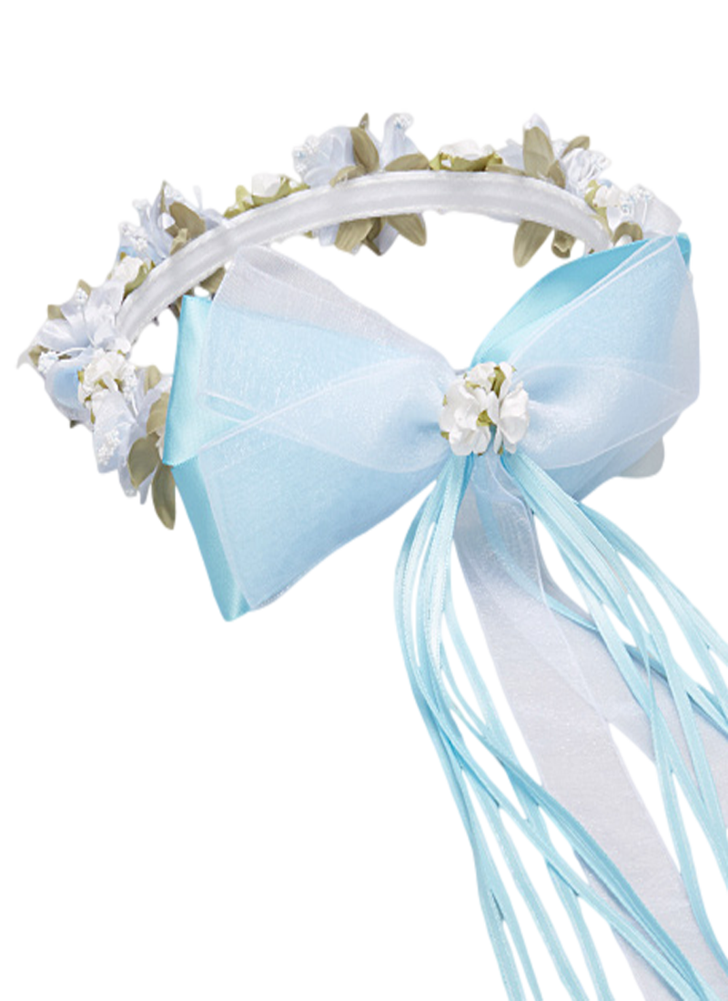 Light blue floral crown wreath handmade with silk flowers satin light blue floral crown wreath handmade with silk flowers satin ribbons bows girls izmirmasajfo