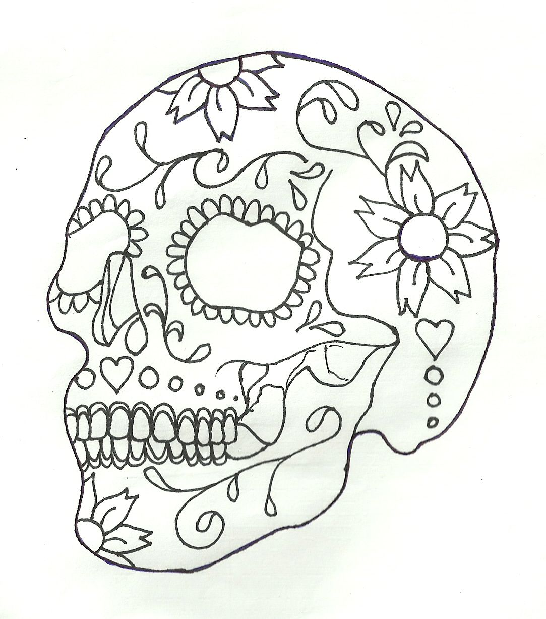 skull tattoo sugar skull tattoos by heather - Sugar Skull Tattoo Coloring Pages