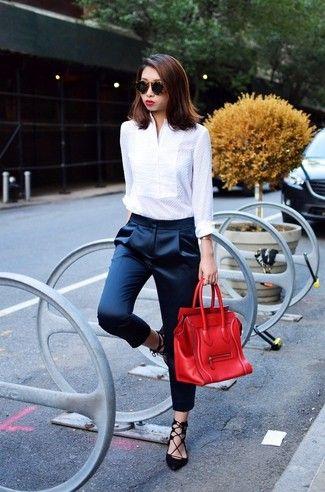 58e2abc4254fb0 Le vêtement femme qui rend chic : Comment porter le tailleur, le manteau  bi-matière et le pantalon cigarette   Mode femmes