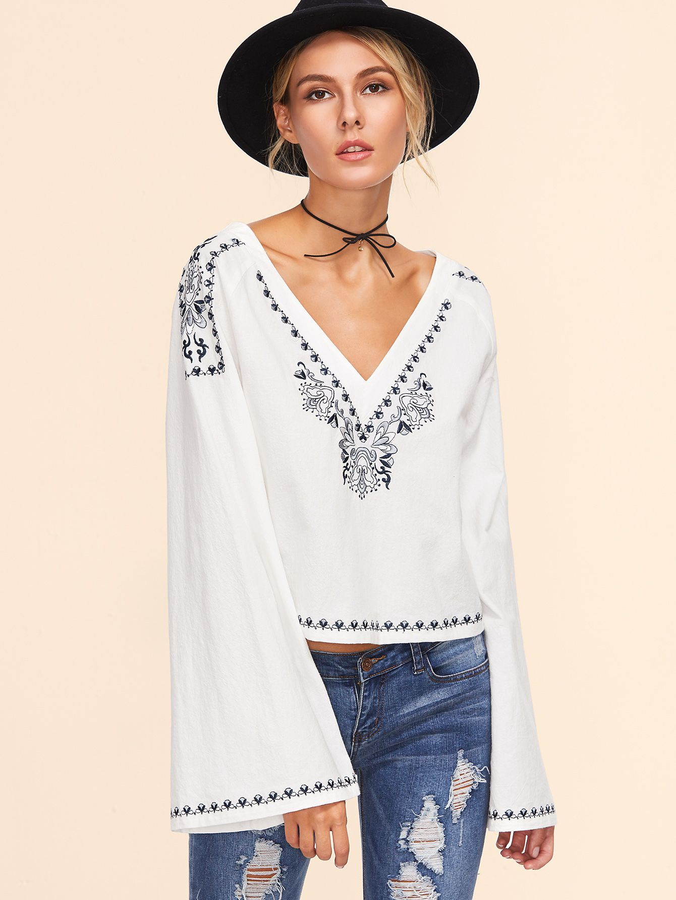 6352a70bbd427e Online shopping for White Double V Neck Bell Sleeve Embroidered Top from a  great selection of women's fashion clothing & more at MakeMeChic.COM.
