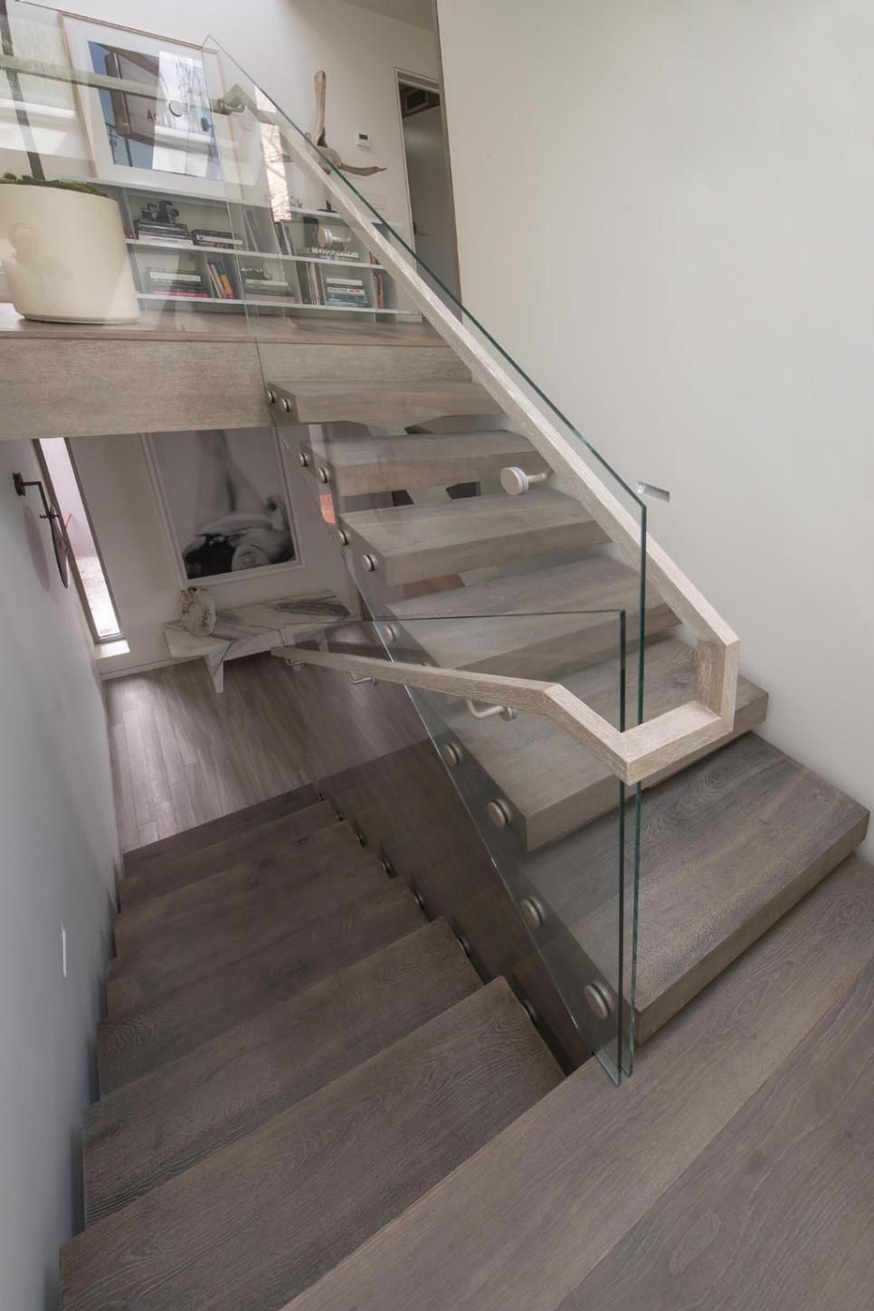 New Stair Railing   Glass Panel Topped With Metal (or Wood).