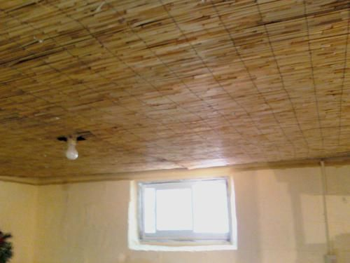 Bamboo Fence From Home Depot Used For Basement Ceiling Basement Ceiling Low Ceiling Basement Decor