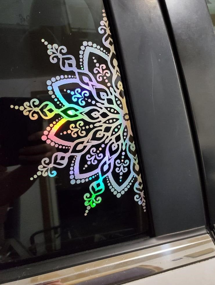 What Kind Of Vinyl For Car Decals : vinyl, decals, Mandala, Decal, Holographic, Sticker, Vinyl, Flower, Decorat…, Decals,, Decals