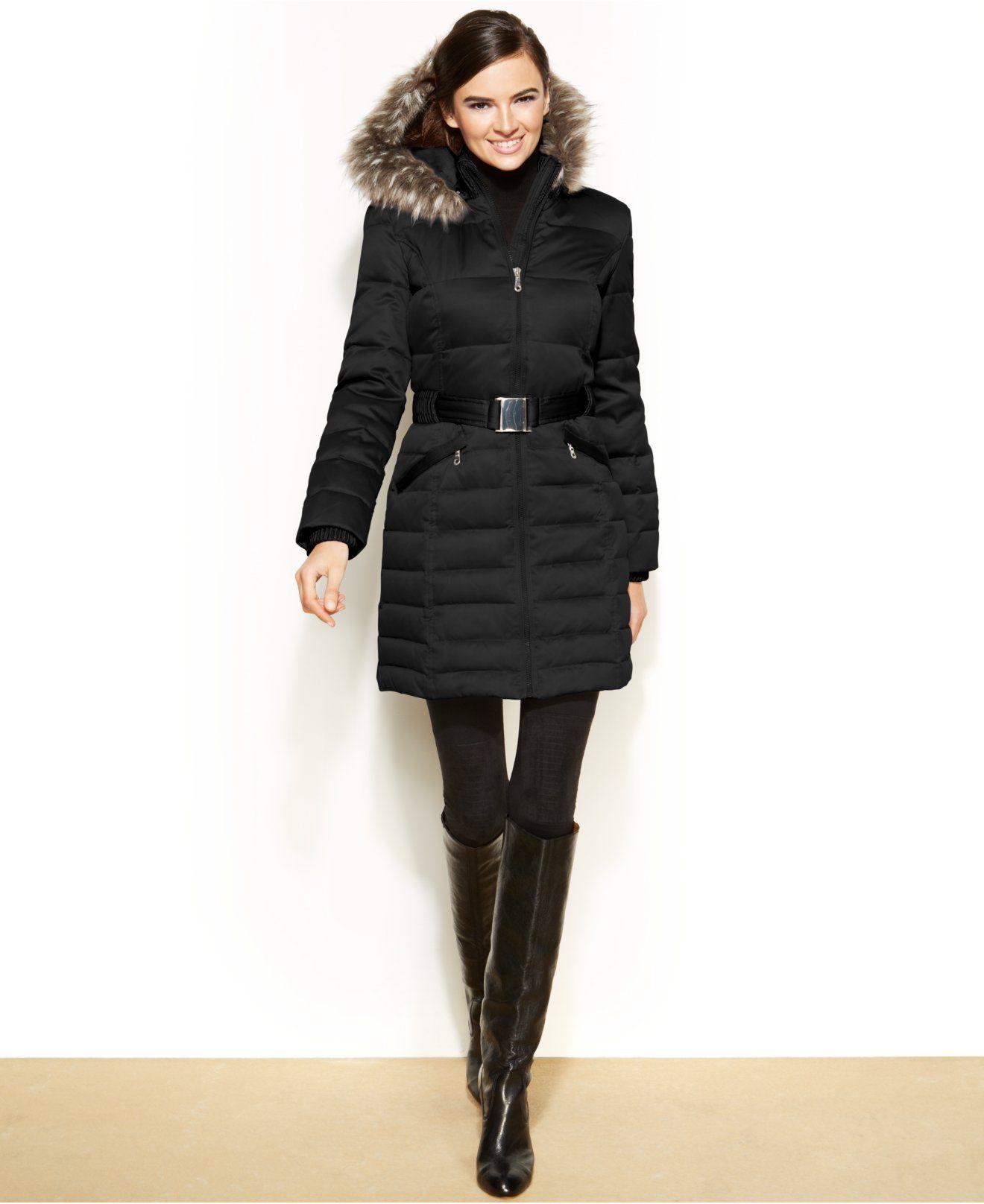 Dkny Hooded Faux Fur Trim Belted Down Puffer Coat Coats Women Macys Black M Down Puffer Coat Puffer Coat Coats For Women [ 1616 x 1320 Pixel ]