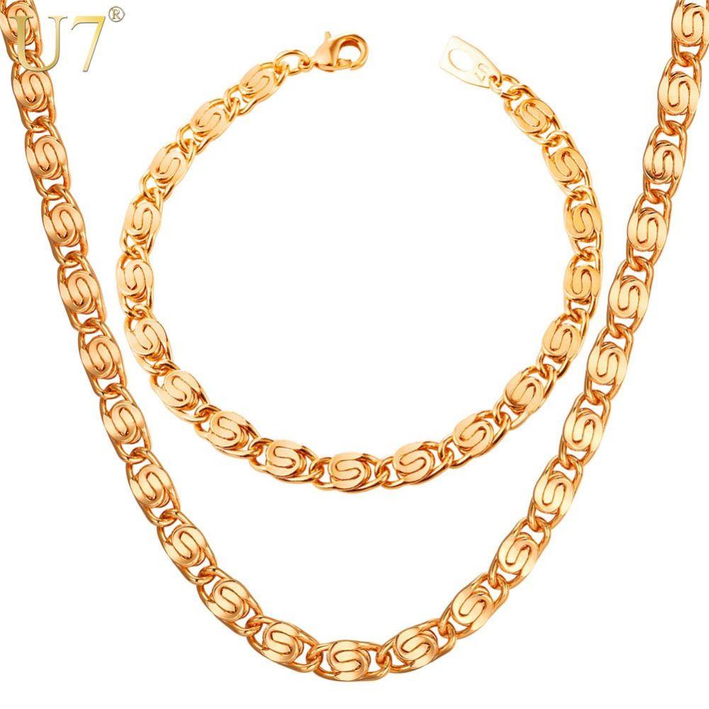 U silvergold color snail link chain bracelet necklace set men