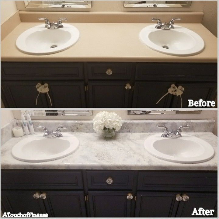 Before And After Faux Granite Countertops Master Bathroom Full