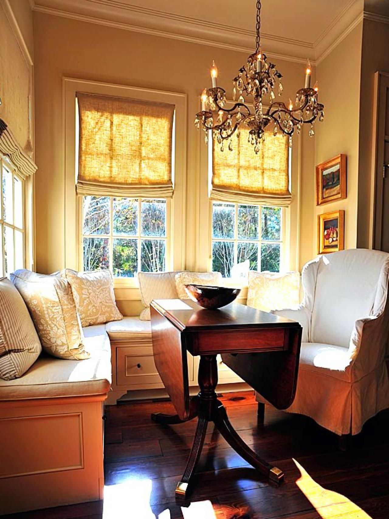 Dining Room Storage Ideas | Banquette seating, Wingback chairs and ...