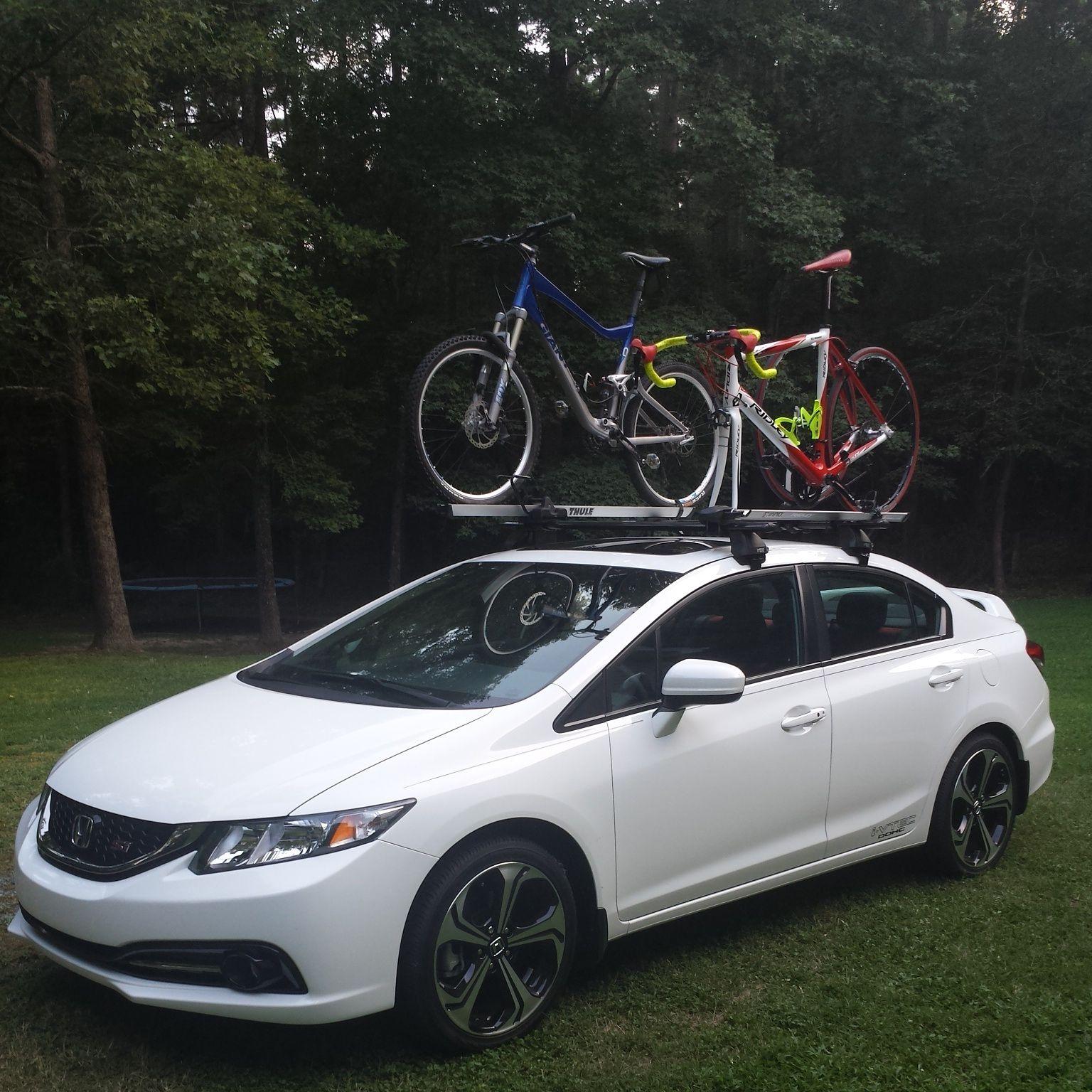 2014 Honda Civic Si With A Rhino Rack Roof Rack Thule Bike Racks And Sweet Bikes Complete Setup Here Honda Civic New Honda Bike Rack