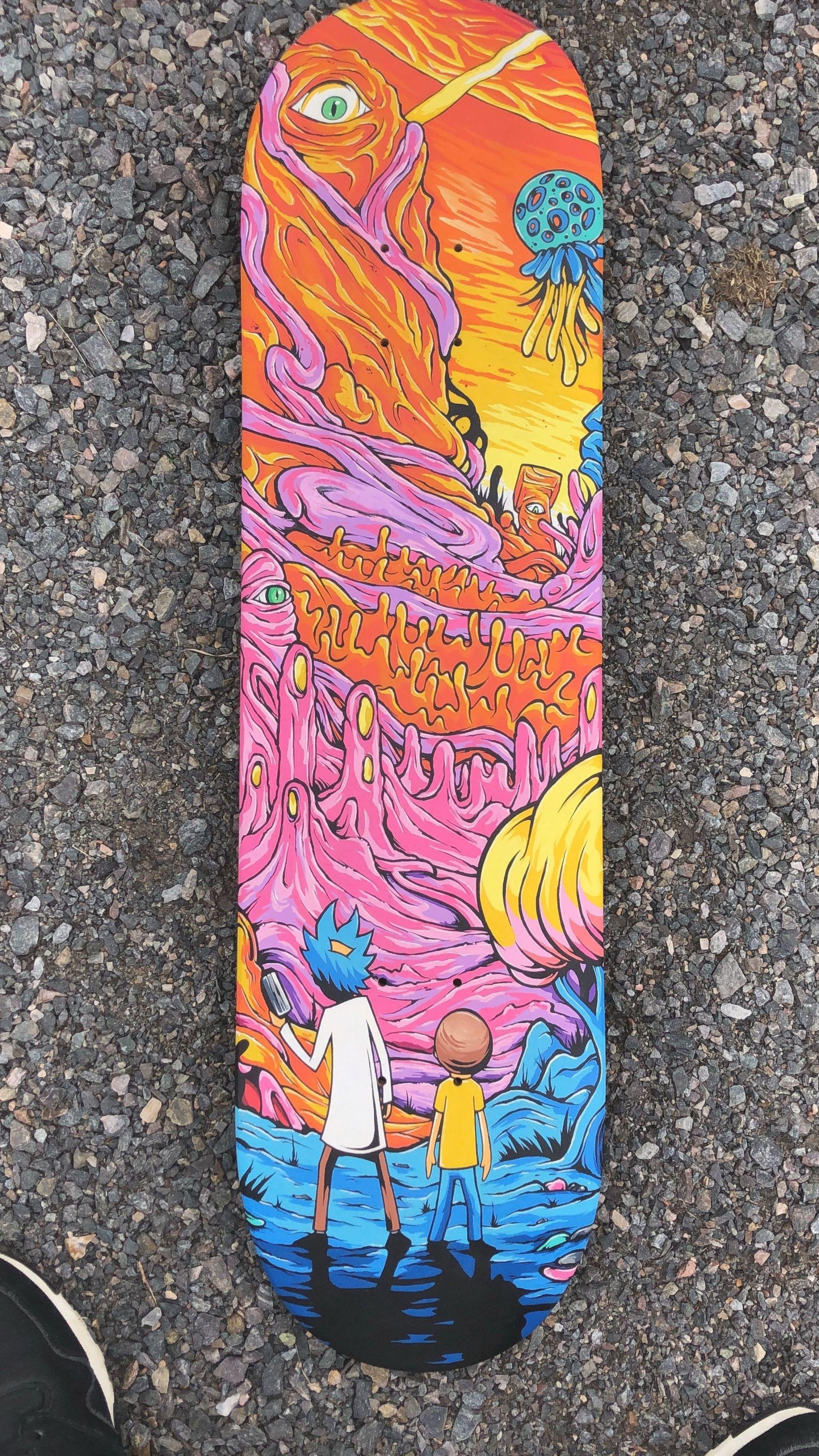 Custom Skateboard I Made Months Ago Rickandmorty Rick Picklerick Morty Wubbalubbadubdub Ge In 2020 Skateboard Art Design Skateboard Deck Art Custom Skateboards
