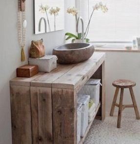 Mueble De Bano De Madera Reciclada Interiores De Cabanas Muebles Muebles Para Banos Pequenos