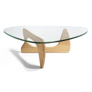 Noguchi Coffee Table Replica Natural Oak 20mm Thick Gl And 40mm Base