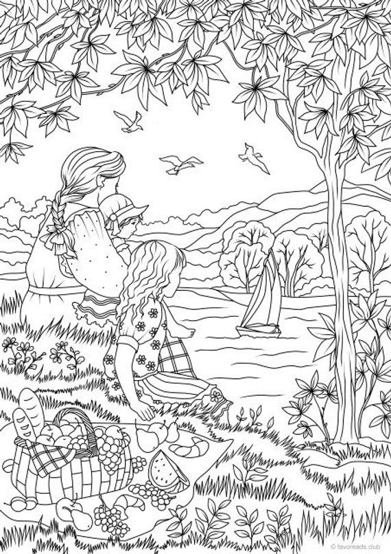 Country Picnic Printable Adult Coloring Page from Favoreads #coloringsheets