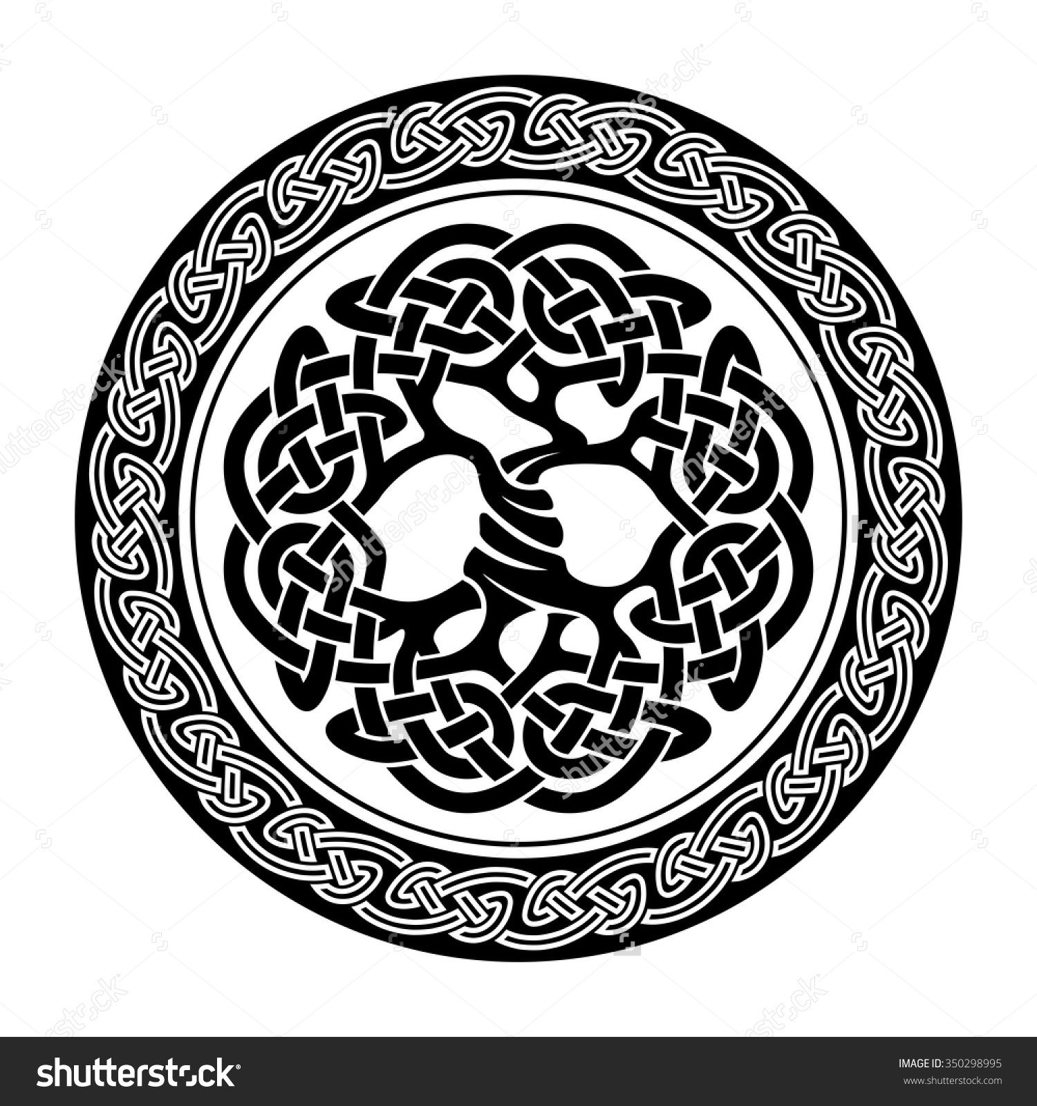 Tree of life ornament - Black And White Illustration Of Celtic Tree Of Life Vector Illustration