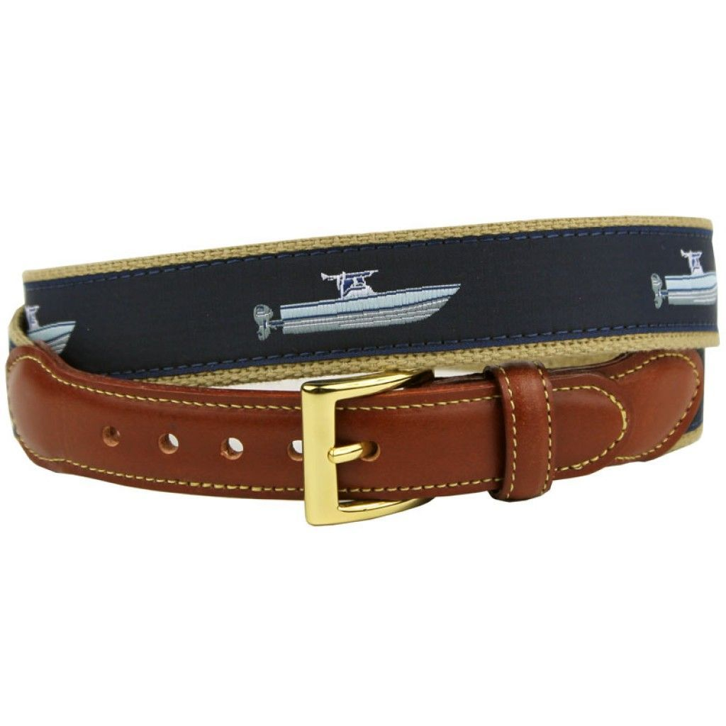 Center Console Boat Leather Tab Belt in Navy by Country
