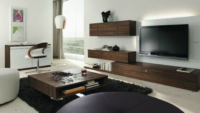 Wenge White Living Room Centros de entretenimiento - Wall unit - moderne holzmobel wohnzimmer