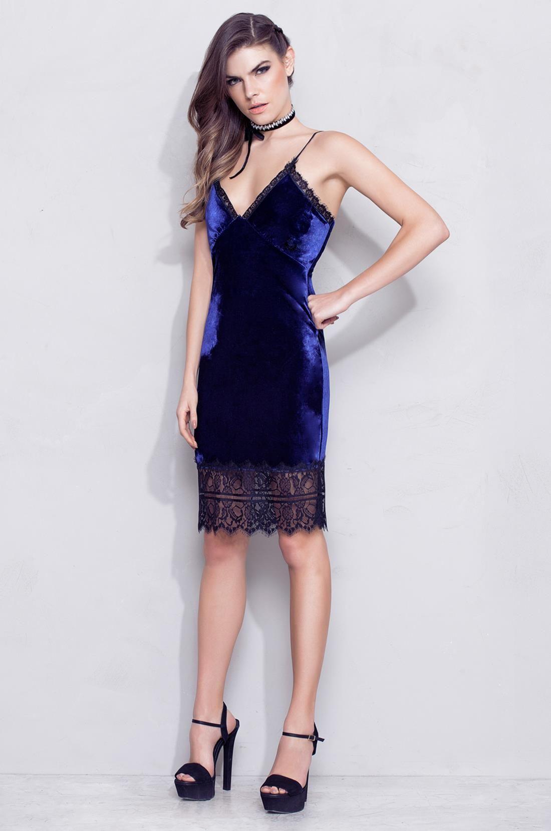 Vestido de veludo azul