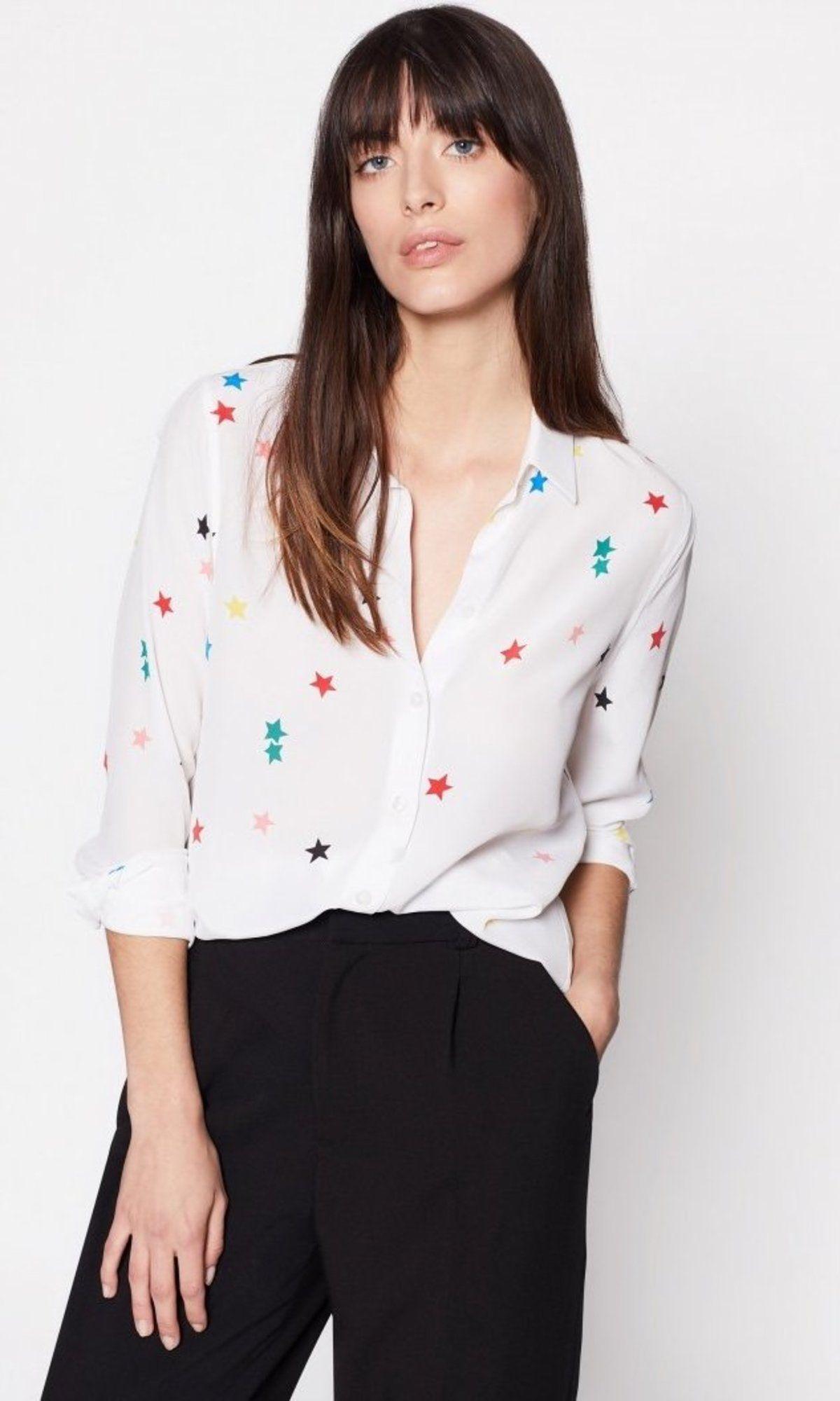 5e00fe2ee3b69d Equipment Essential Silk Button Up White Color Star Print Shirt Blouse