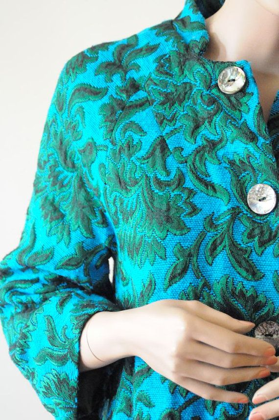 1960 S Tapestry Coat Green Floral Jacket Peacock Green And Etsy Floral Jacket Green Coat Peacock Green