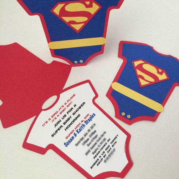 Superman Onesie Invitation By Hotpinkstudios On Etsy Baby Shower