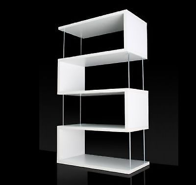 Mobile bianco soggiorno legno libreria espositore divisorio parete design zigzag arredo nel - Mobile libreria a parete ...