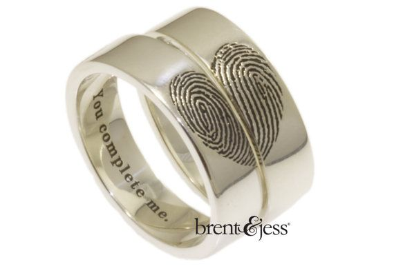 28 Unique Matching Wedding Bands His Hers Styles Couples Rings Fingerprint Wedding Bands Fingerprint Wedding Unique Wedding Band Sets