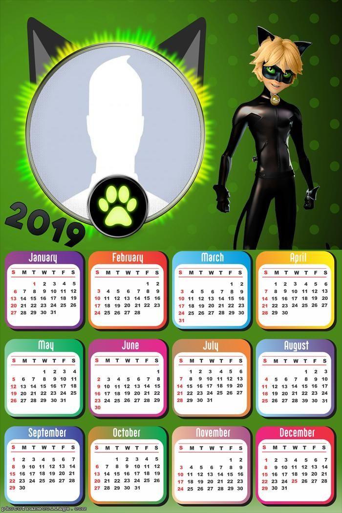 Cat Noir Calendar 2019 Frame Photo Montage Free Online